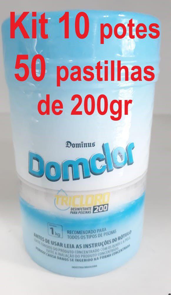 Kit 10 potes Cloro pastilha tricloro 200gr domclor