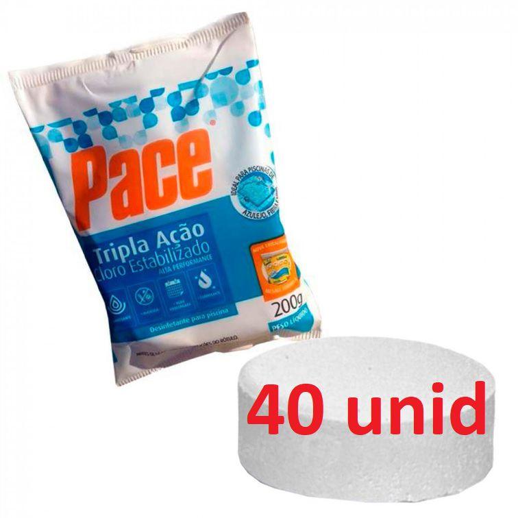 Kit 40 Pastilhas Cloro Tripla Ação para Piscina  200gr hth pace