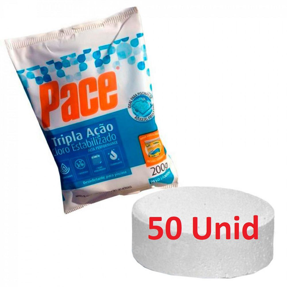 Kit 50 Pastilhas Cloro Tripla Ação para Piscina  200gr hth pace