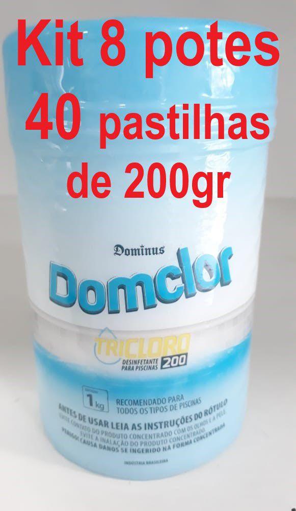 Kit 8 potes Cloro pastilha tricloro 200gr domclor