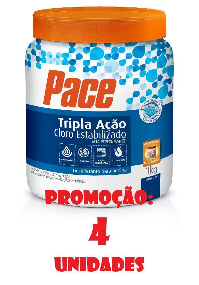 Kit 4 potes de Cloro para Piscina pastilha tripla ação 1kg