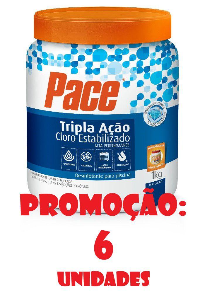 Kit 6 potes de Cloro para Piscina pastilha tripla ação 1kg