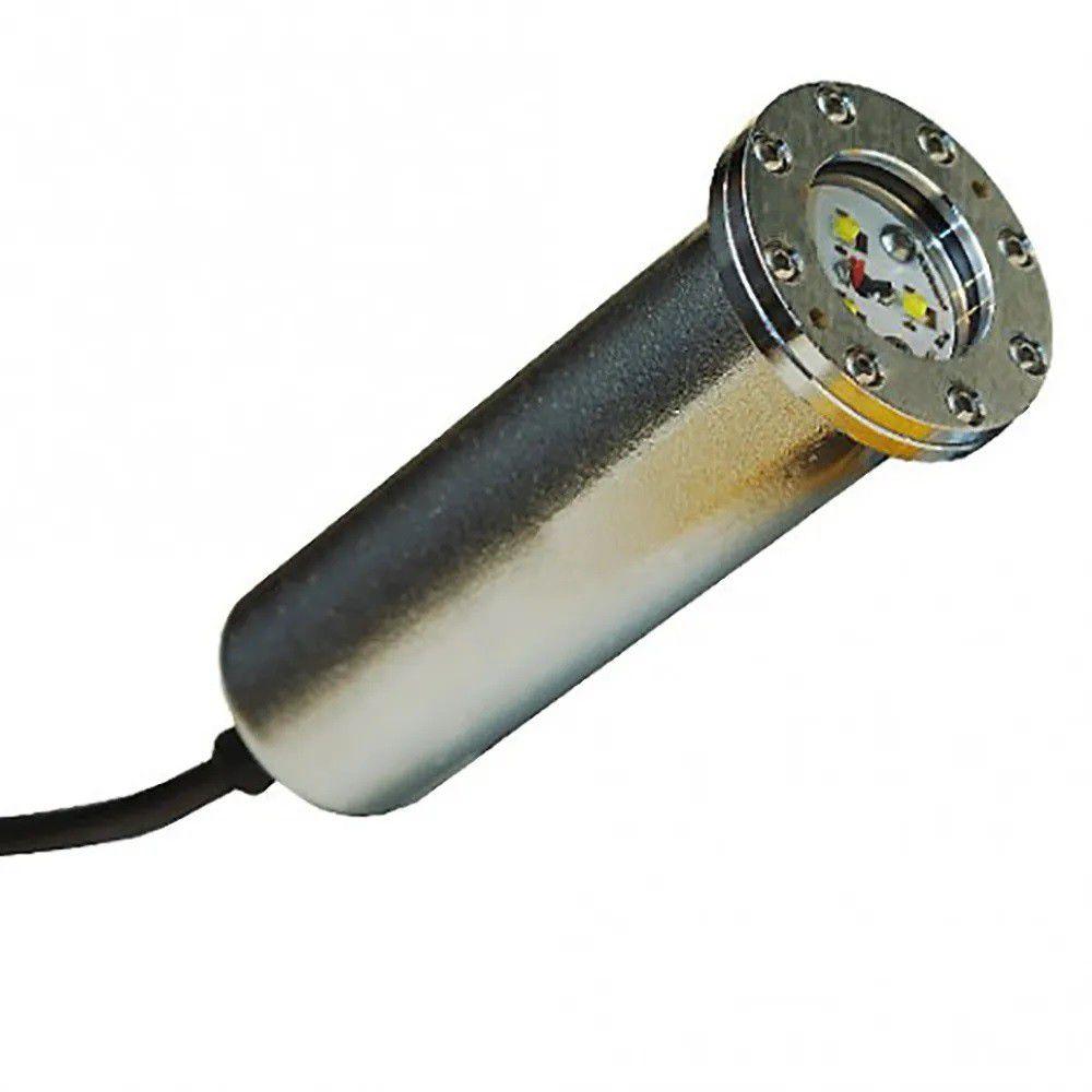 Luminária para Piscina Hiper Led Sodramar 9W Latão Branco cabo 1,5m