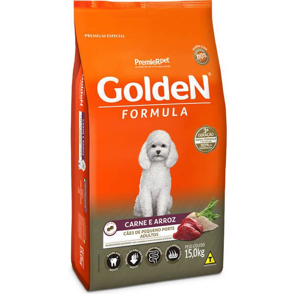 Golden Formula Adultos Mini Bits - 15kg - Carne e Arroz