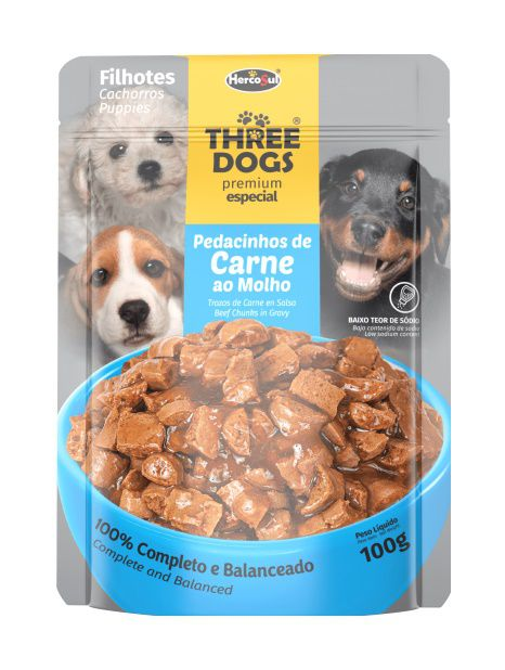 Sachê Three Dogs Original - Pague 10 e Leve 12 Filhotes - 100g - Sabor Carne