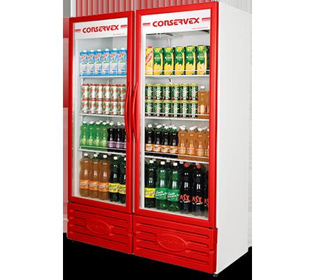 Expositor Refrigerado Vertical 2 Portas 850L Conservex Vermelho