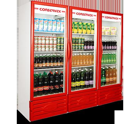 Expositor Refrigerado Vertical 3 Portas 1300L Conservex Vermelho
