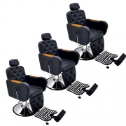 Kit 3 Poltronas Para Salão Reclináveis FLUENCE