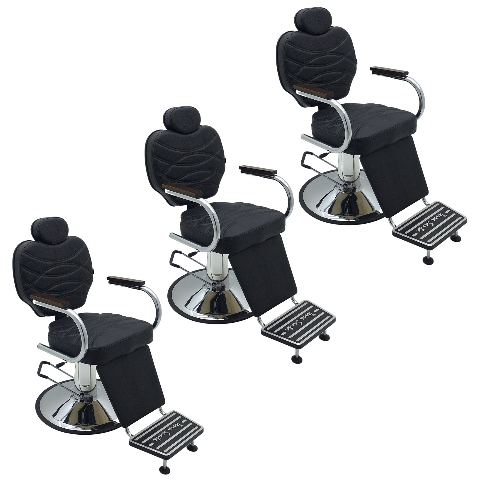 Kit 3 Poltronas Para Salão Reclináveis Polo Base redonda