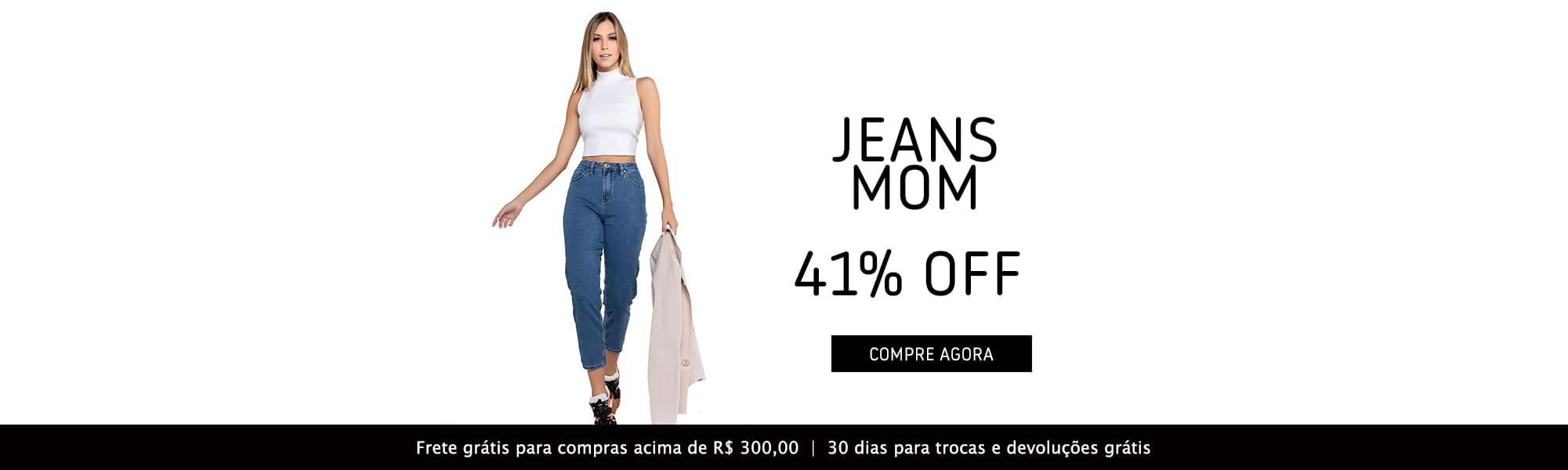 Calça Jeans Feminina Mom - 41%  de desconto - Black November