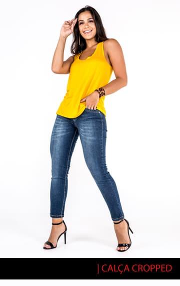 Destaque para nossa Calça Cropped Feminina Jeans com 15% OFF