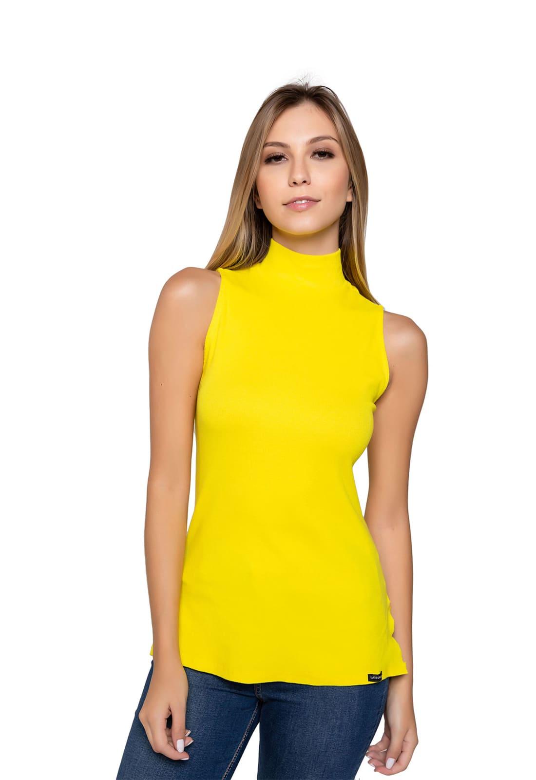 2 Blusas Feminina Latifundio Gola Alta - Cores Amarelo e Rosa