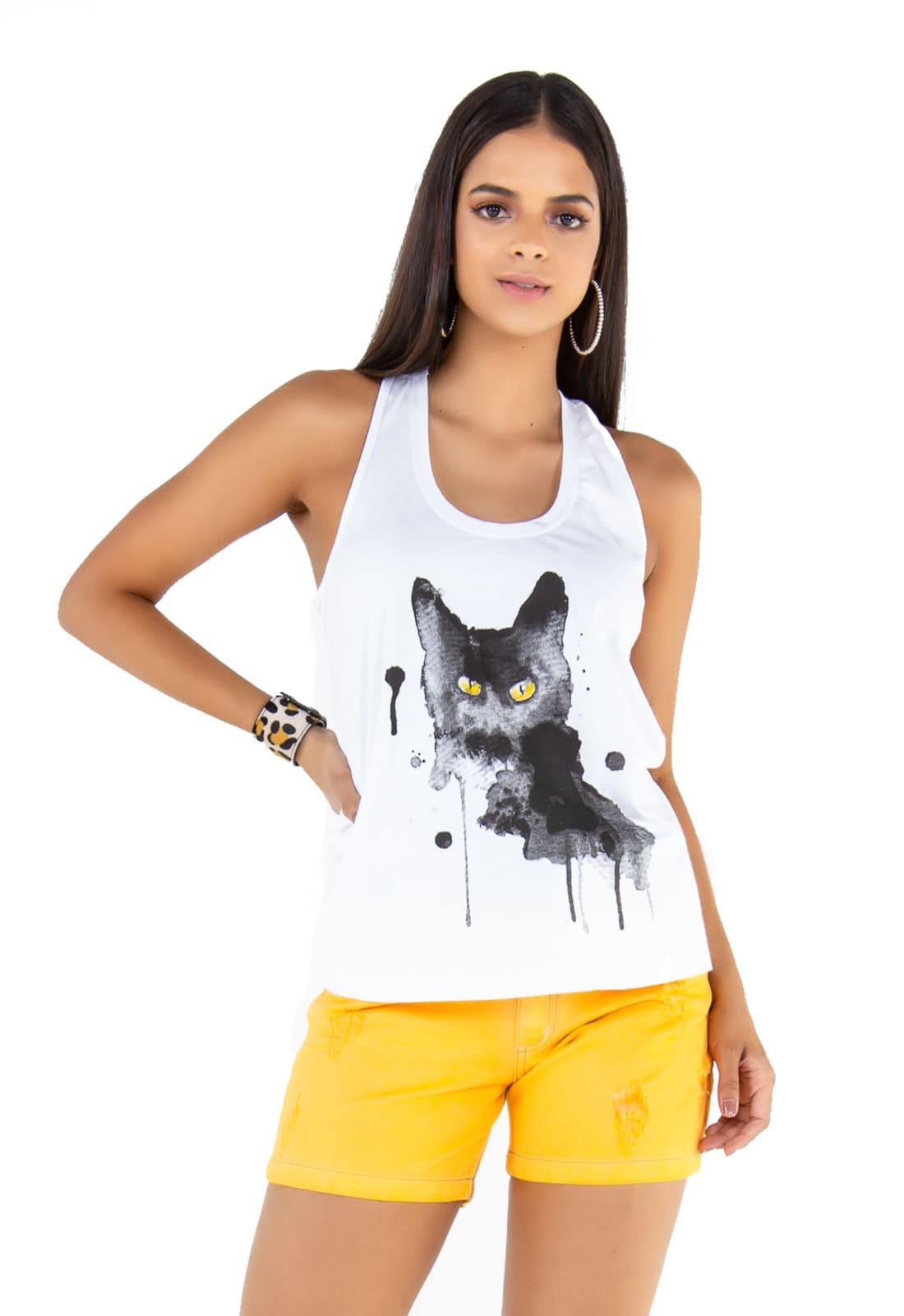 2 Regatas Feminina -  Estampa Cat - Âncora