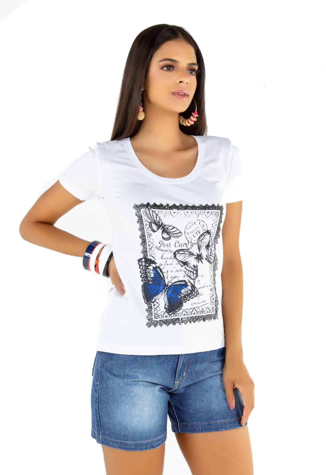 2 T-shirts Feminina -  Estampa Butterfly - Queen Bee