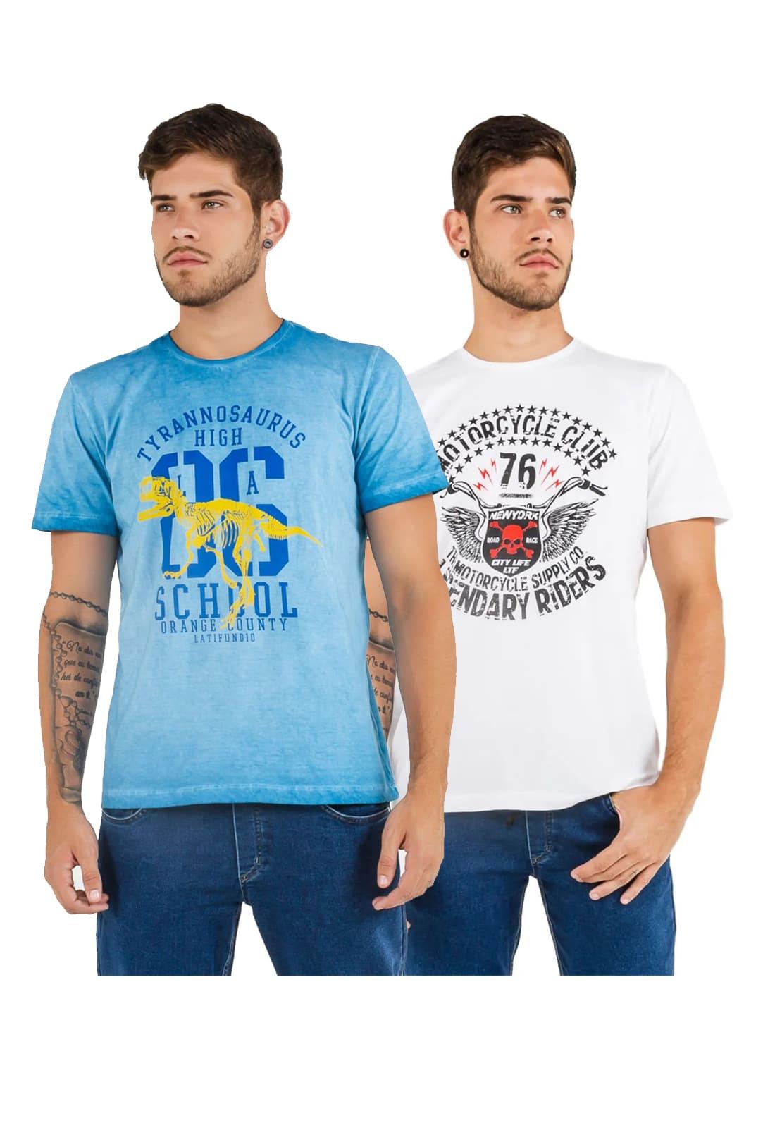 2 T-shirts Masculina - Estampa High School - Motorcycle Club