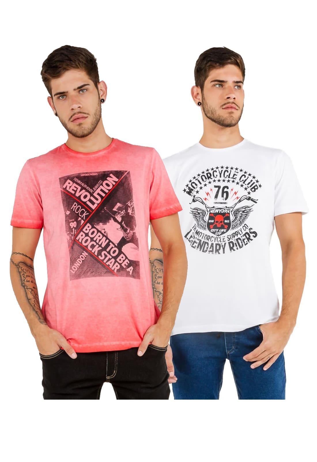 2 T-shirts Masculina - Estampa Rock Star - Motorcycle Club