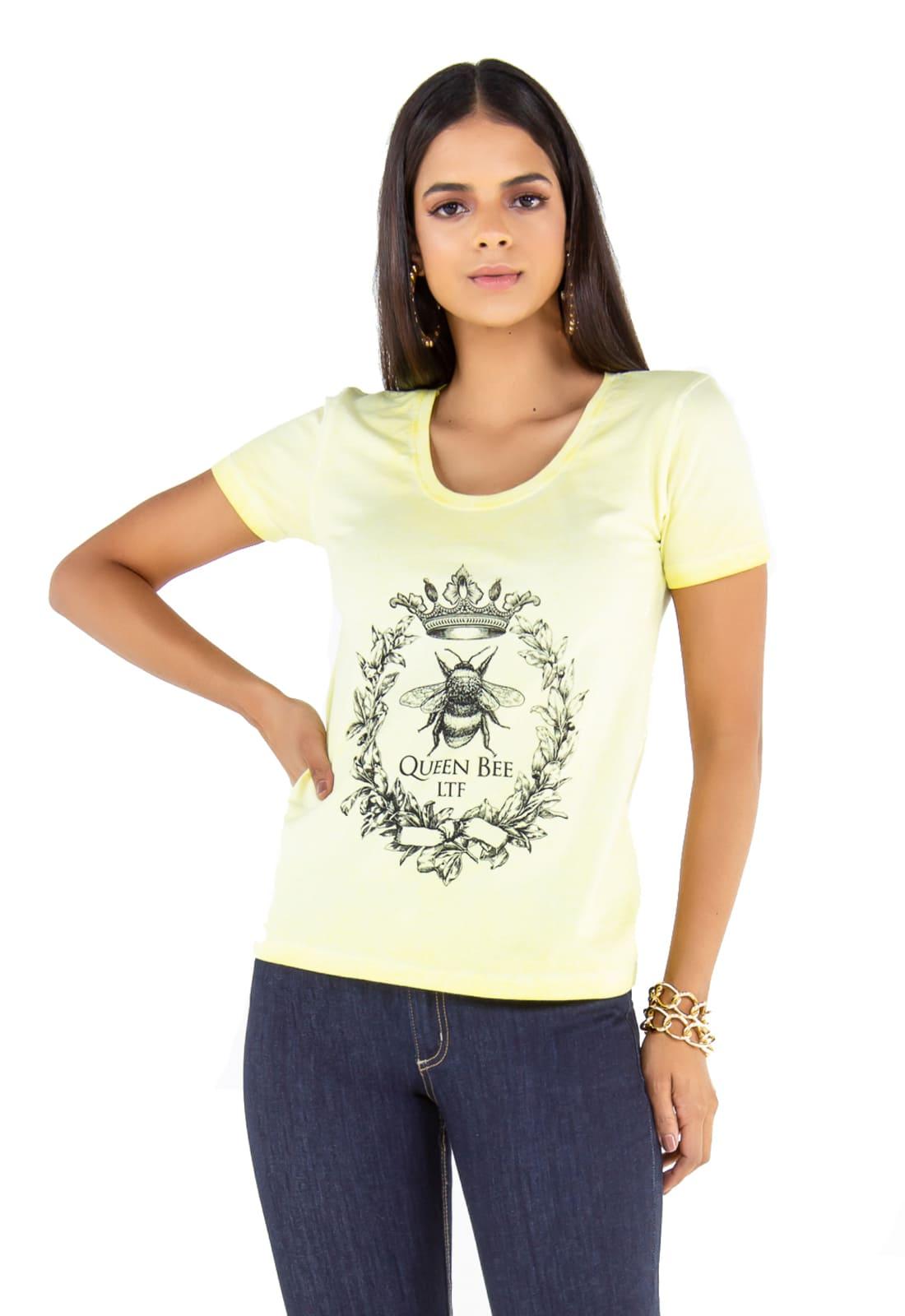 3 T-shirts Feminina -  Estampa Queen Bee - Wolf - Butterfly