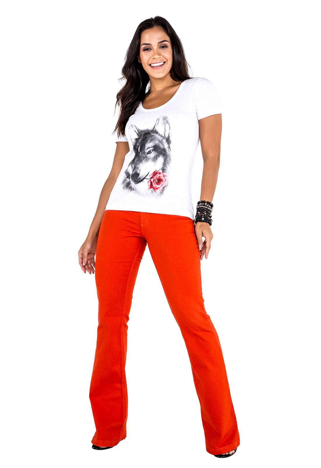 3 T-shirts Feminina -  Estampa Queen Bee - Wolf - Butterfly