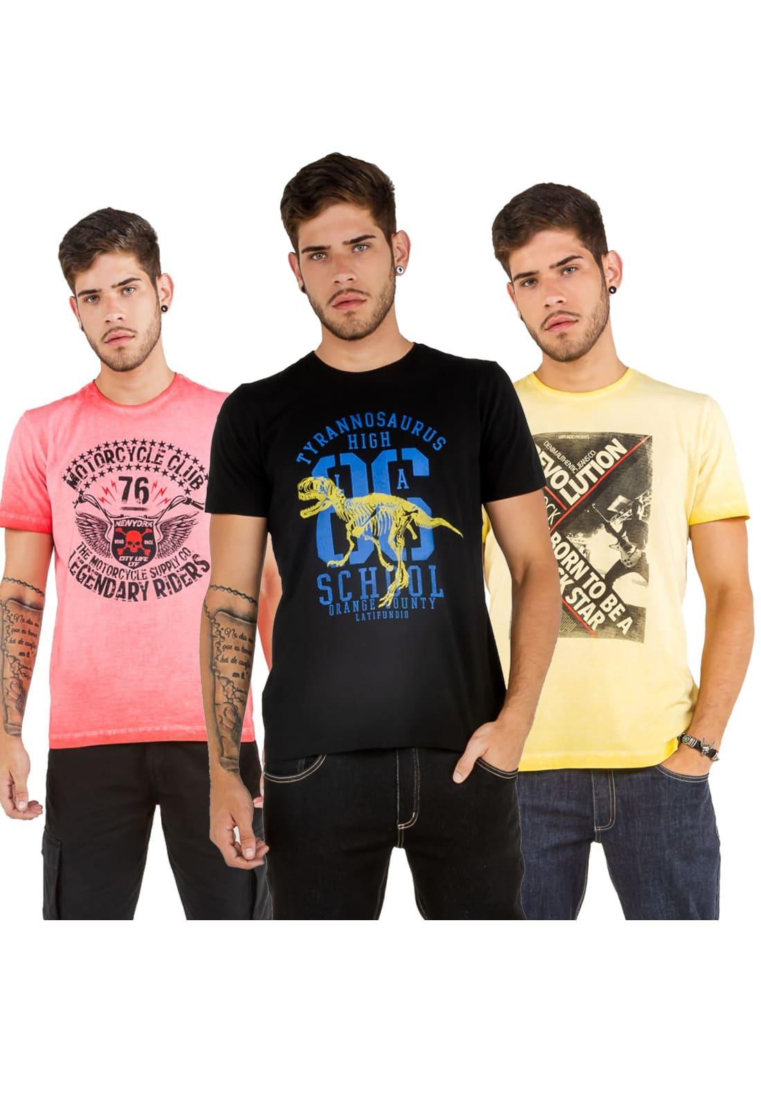 3 T-shirts Masculina - Estampa High School - Motorcycle Club - Rock Star