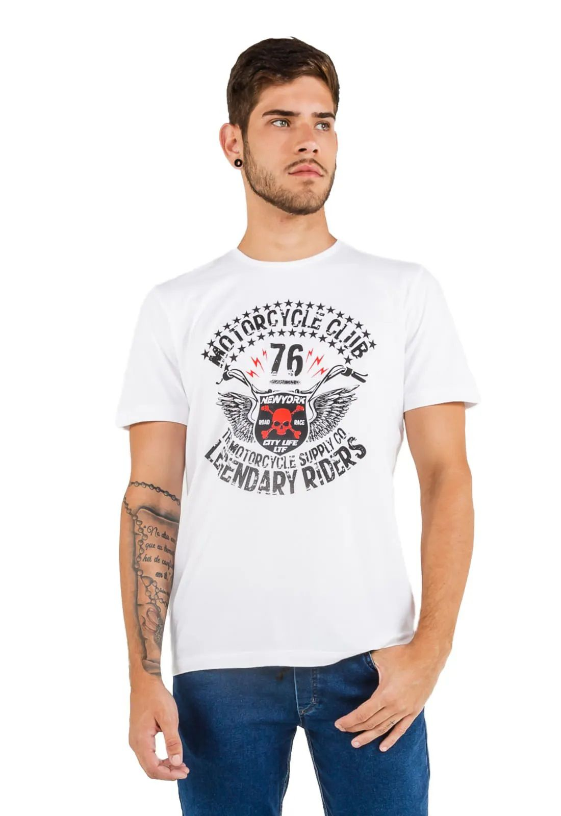 3 T-shirts Masculina - Estampa Rock Star - Motorcycle Club - High School