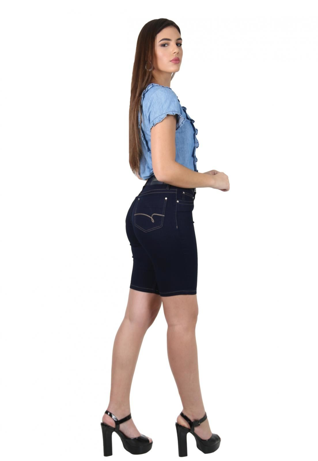Bermuda Ciclista Feminina Jeans