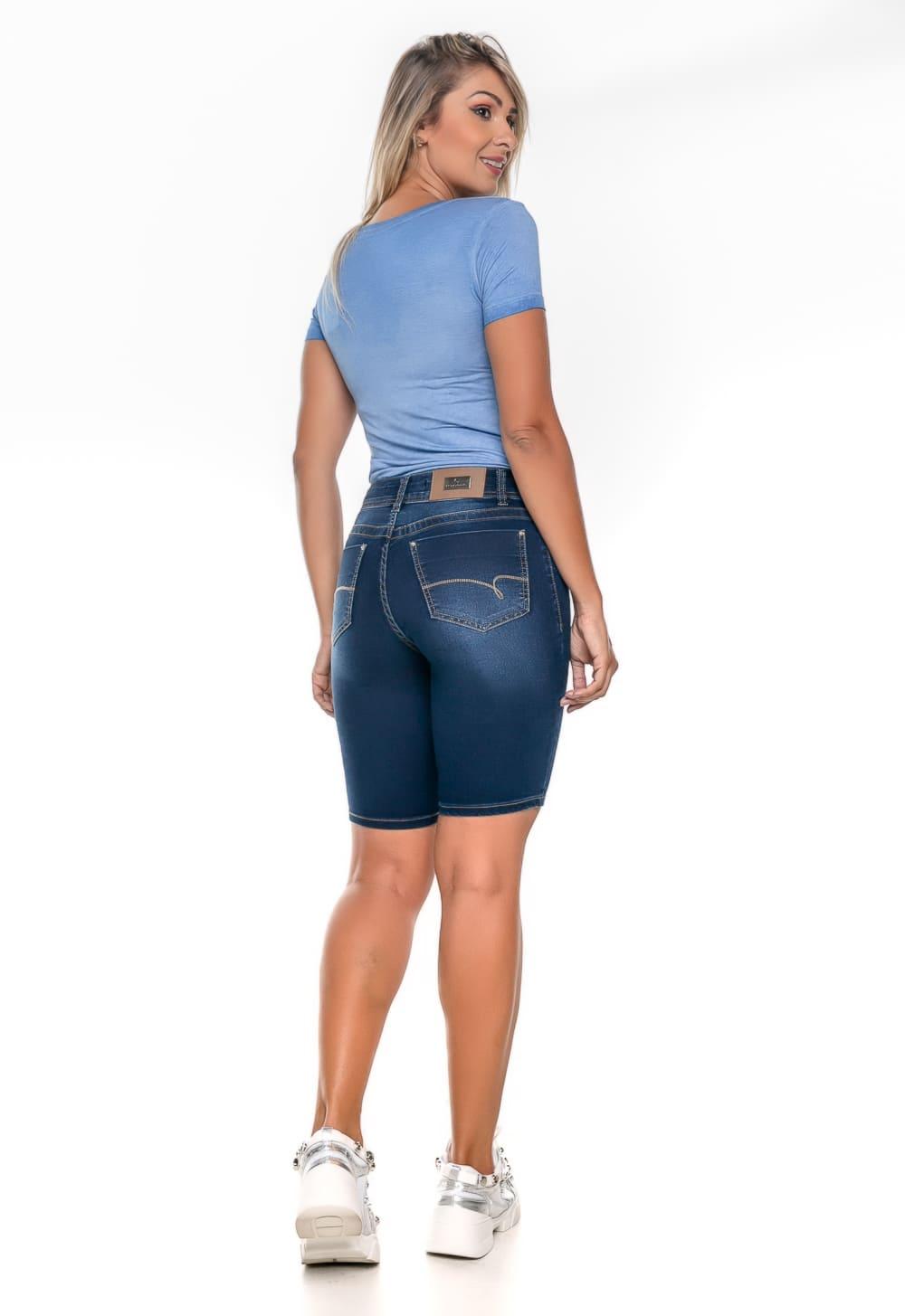 Bermuda Jeans Feminina Tradicional Azul