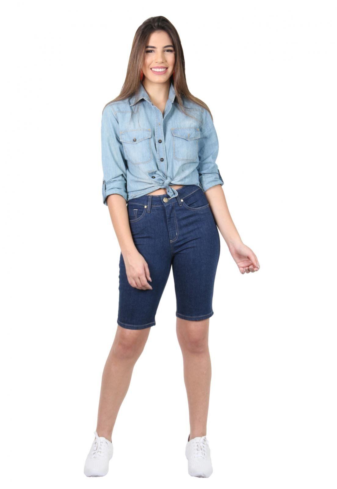 Bermuda Jeans Feminina Tradicional Escura