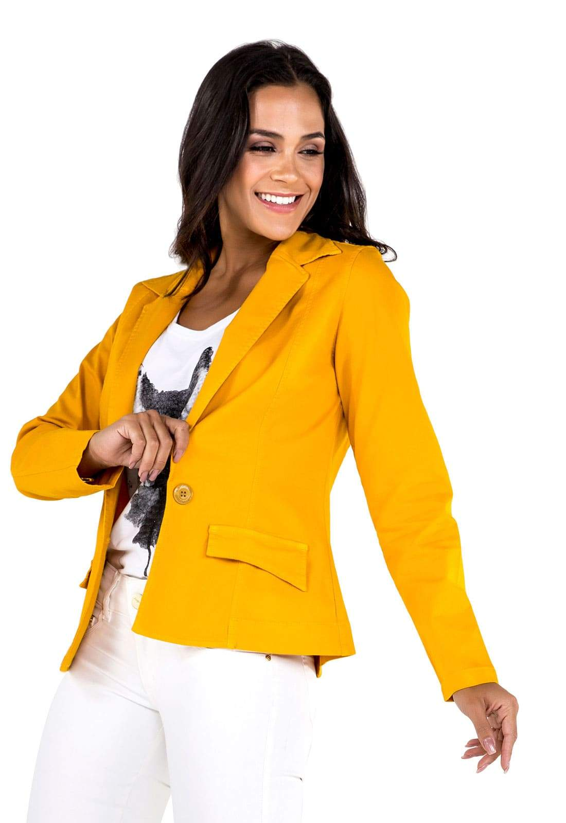 Blazer Boyfriend Feminino Amarelo