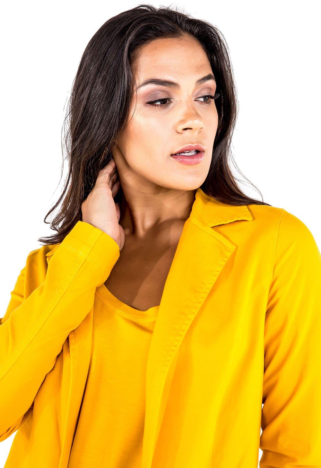 Blazer Boyfriend Feminino Longo Amarelo