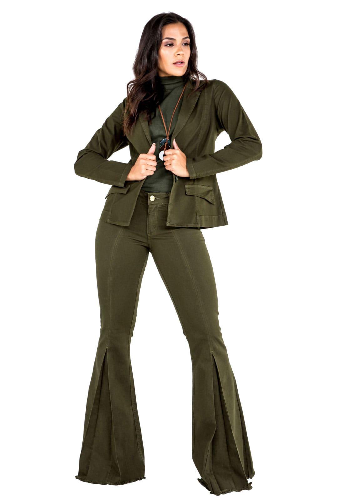 Blazer Boyfriend Feminino Verde Militar