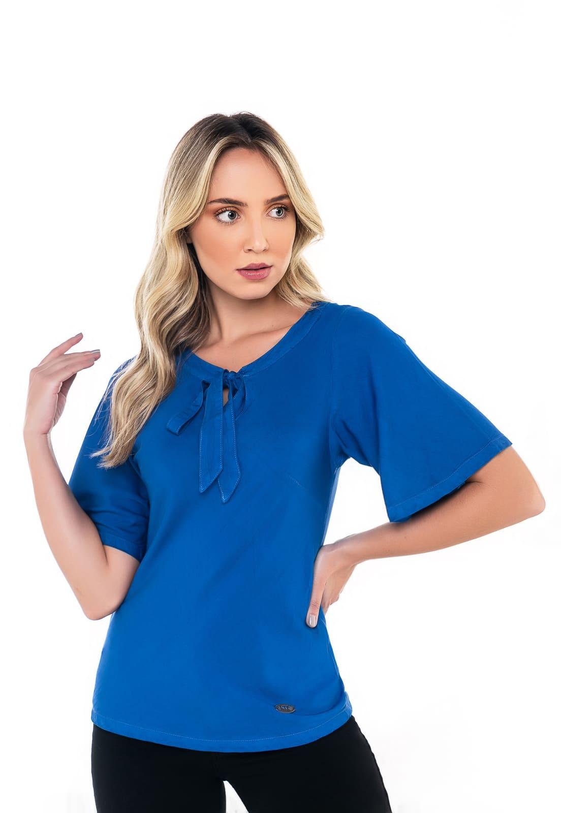 Blusa Feminina Colorida Laço Azul