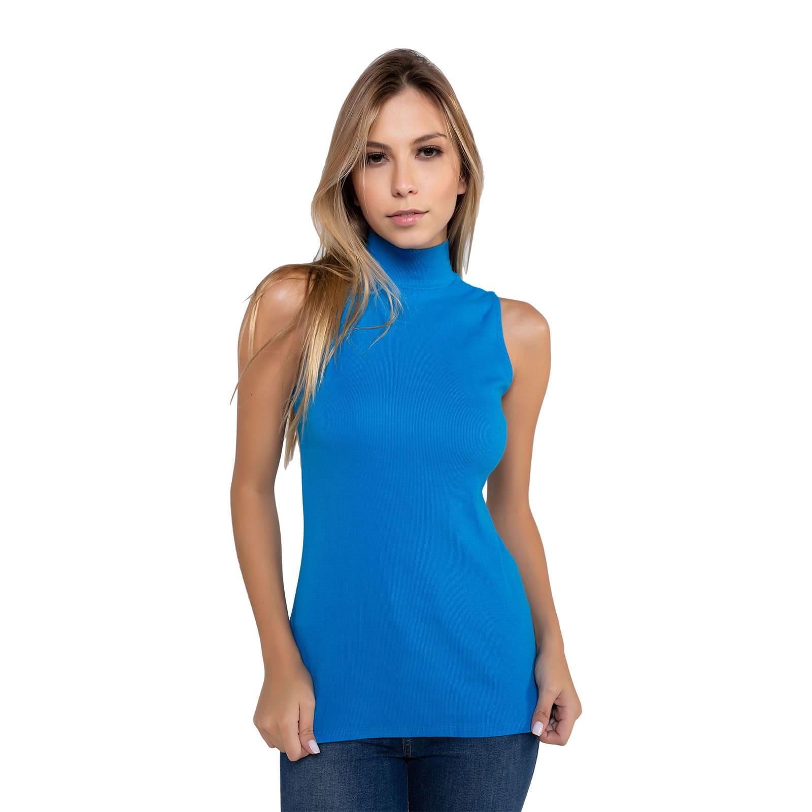 Blusa Feminina Gola Alta Azul