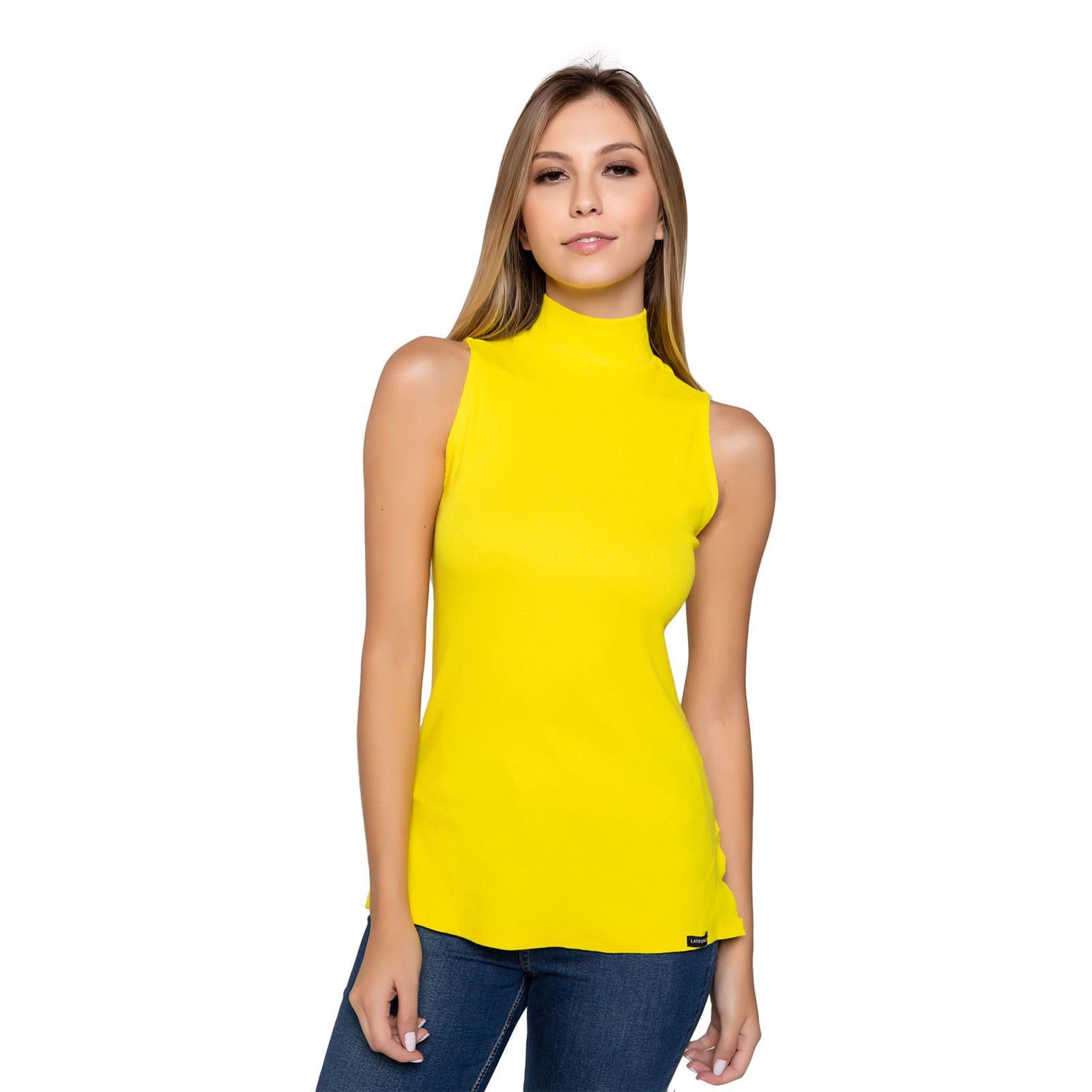 Blusa Feminina Gola Alta Amarelo