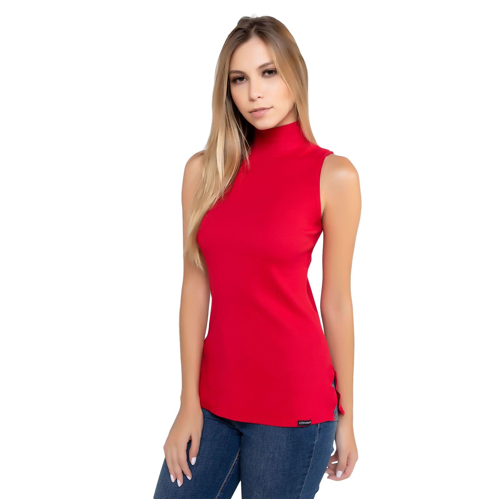 Blusa Feminina Gola Alta Vermelho