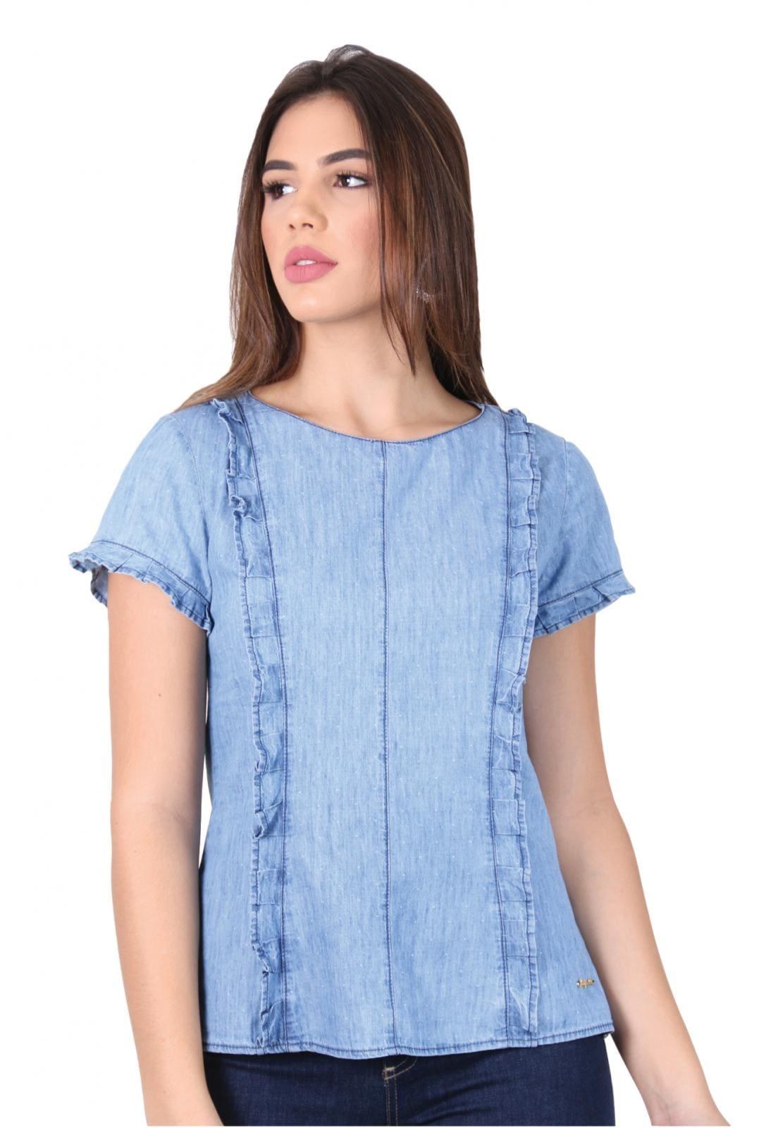 Blusa Feminina Jeans com Detalhes