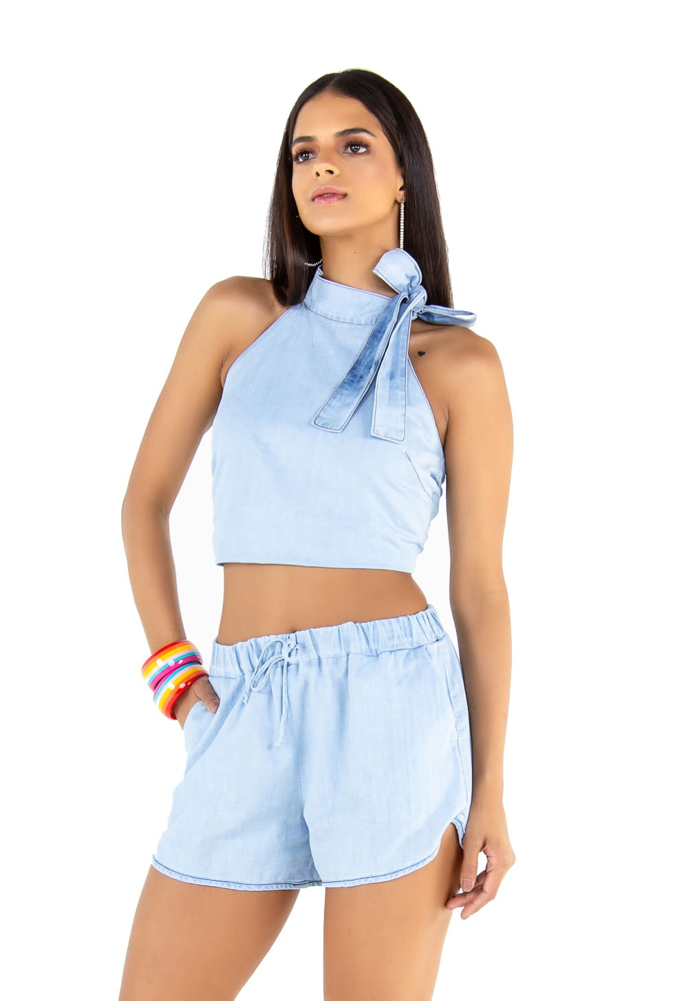 Blusa Feminina Jeans Delavê