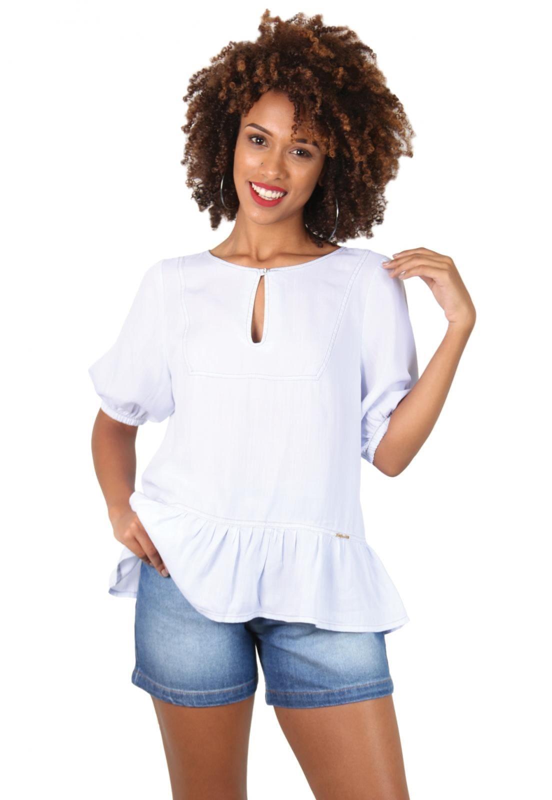 Blusa Jeans Branca com Botão