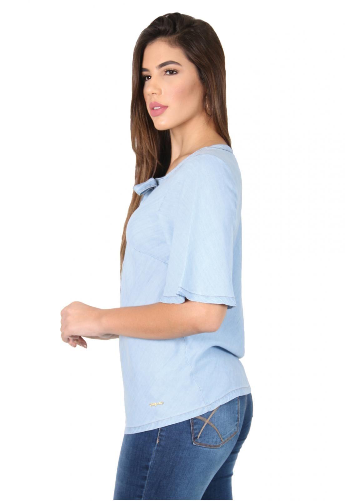 Blusa Jeans com Laço Amarração na Frente
