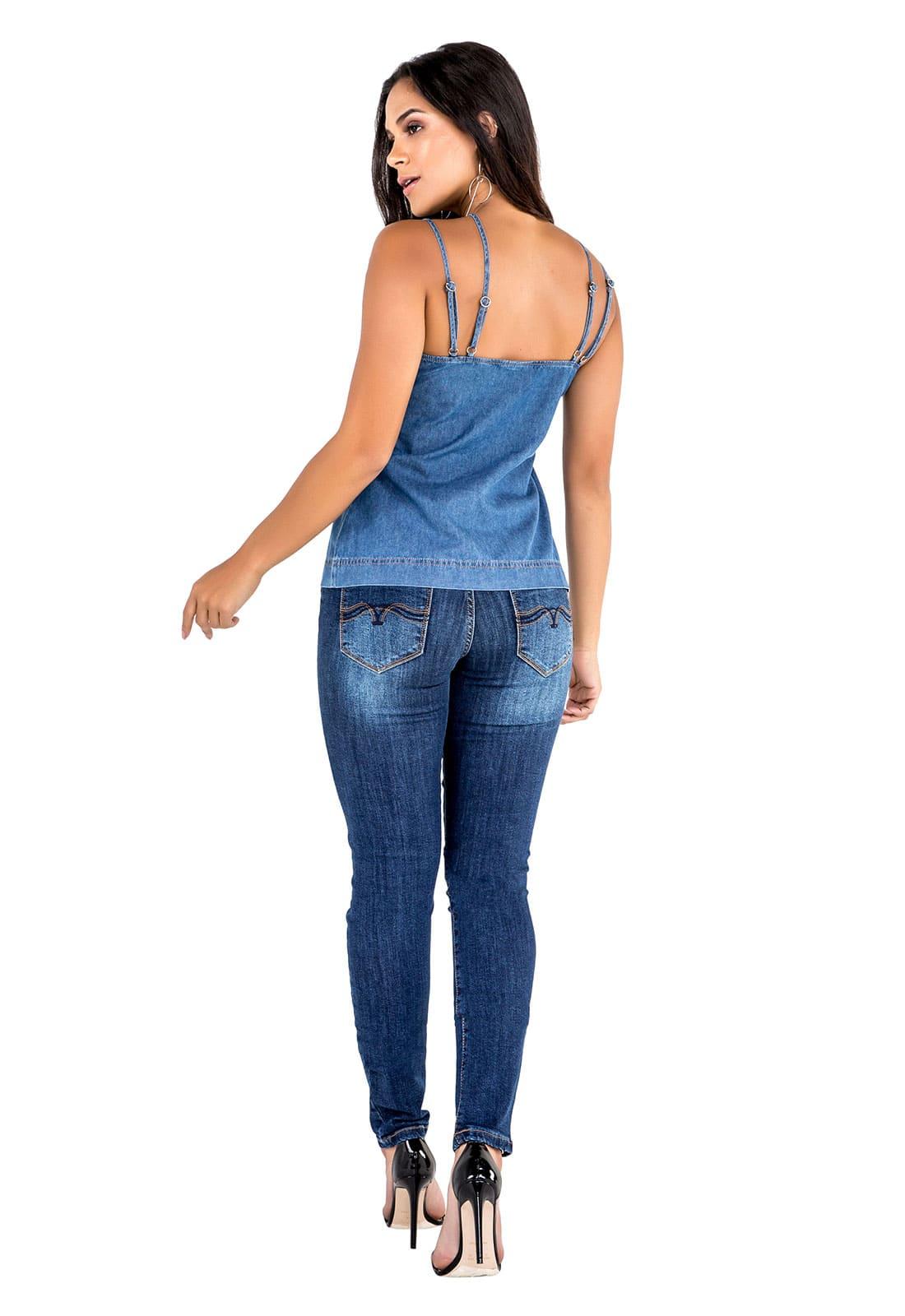 Blusa Jeans Feminina Sem Manga