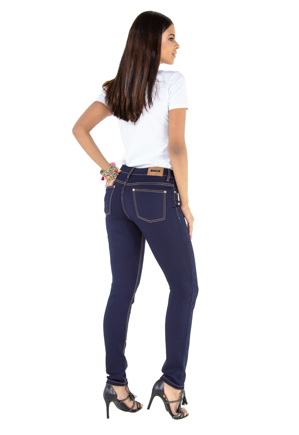 Calça Cigarrete Feminina Tradicional Jeans Escuro