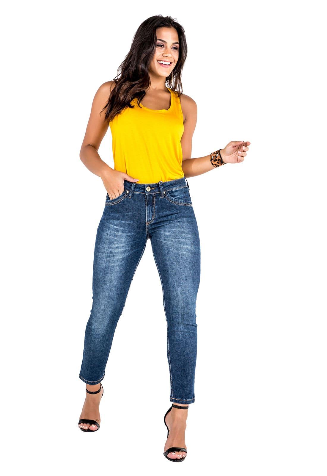 Calça Cropped Feminina Jeans