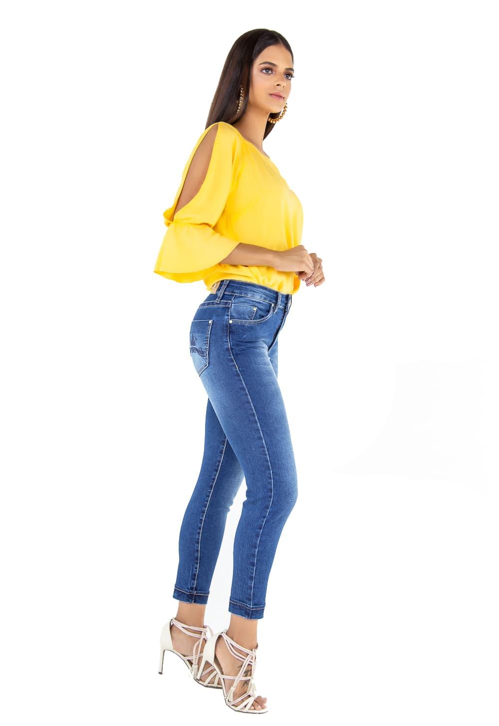 Calça Cropped Feminina Tradicional Alta Jeans