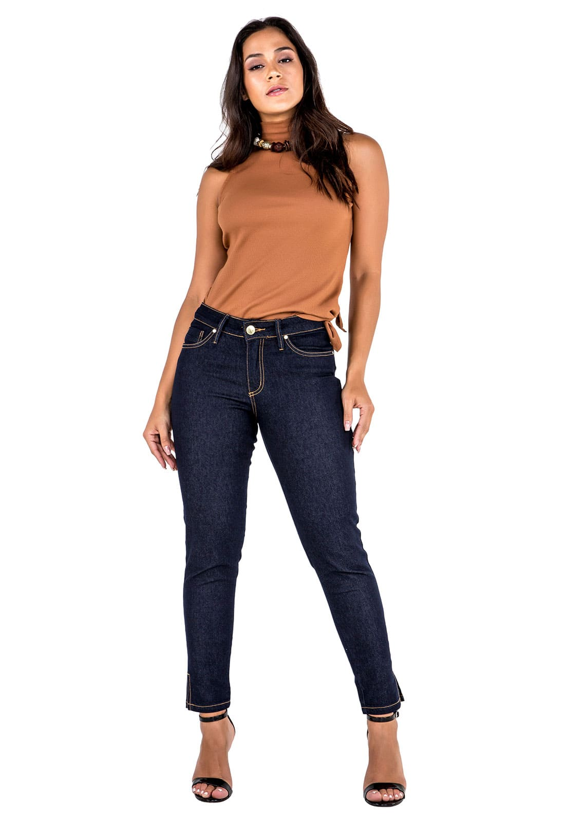 Calça Cropped Feminina Tradicional Jeans