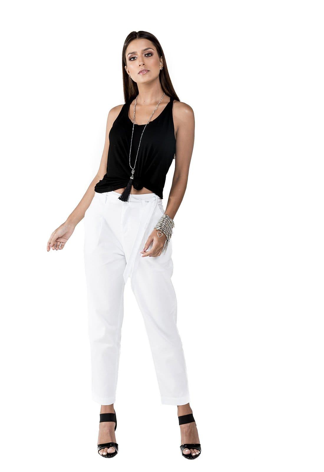 Calça em Sarja Cintura Alta com Laço Latifundio Branca