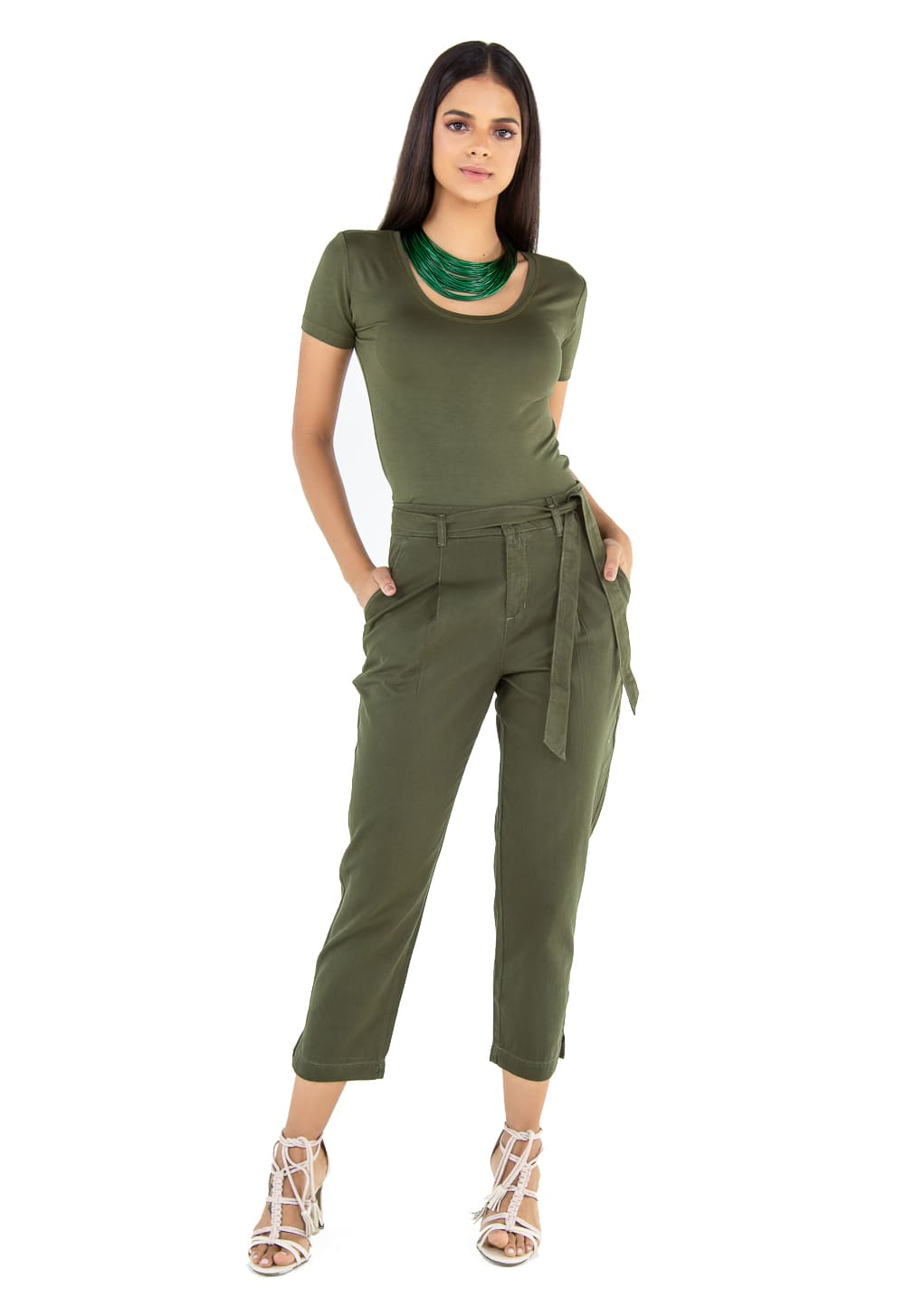 Calça em Sarja Cintura Alta com Laço Latifundio Verde Militar