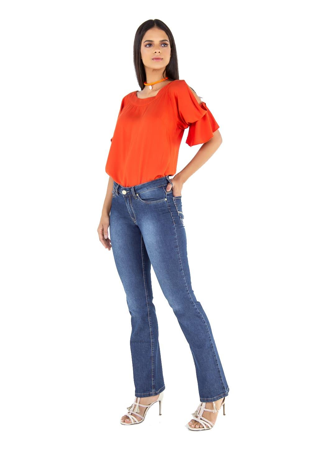 Calça Feminina Boot Cut Tradicional Jeans