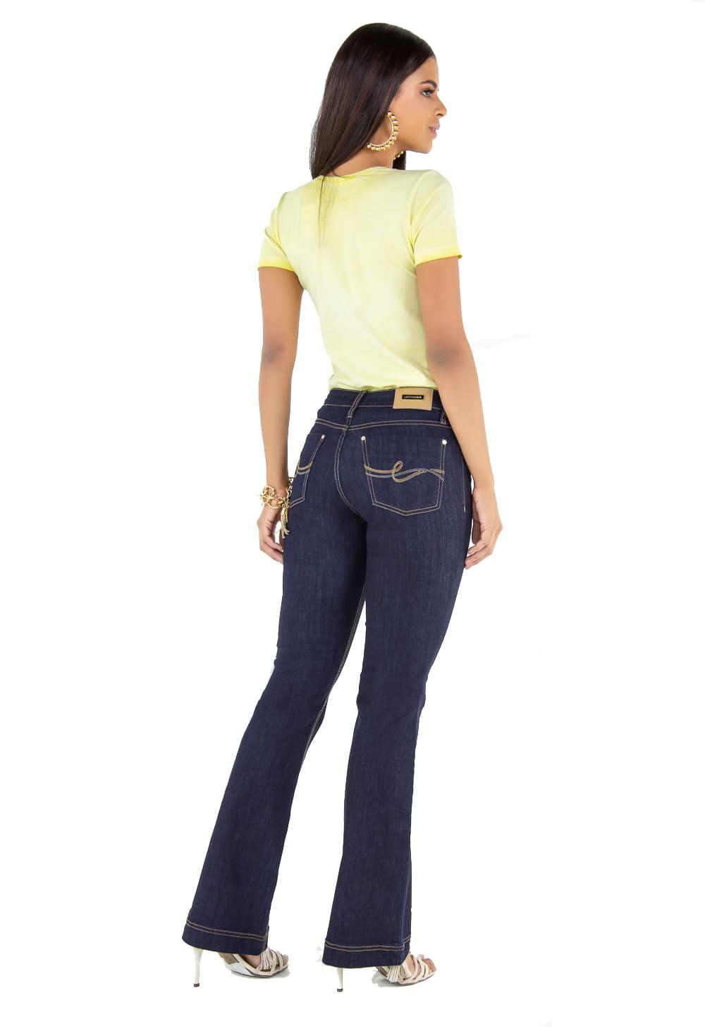 Calça Feminina Flare Jeans Escuro Tradicional