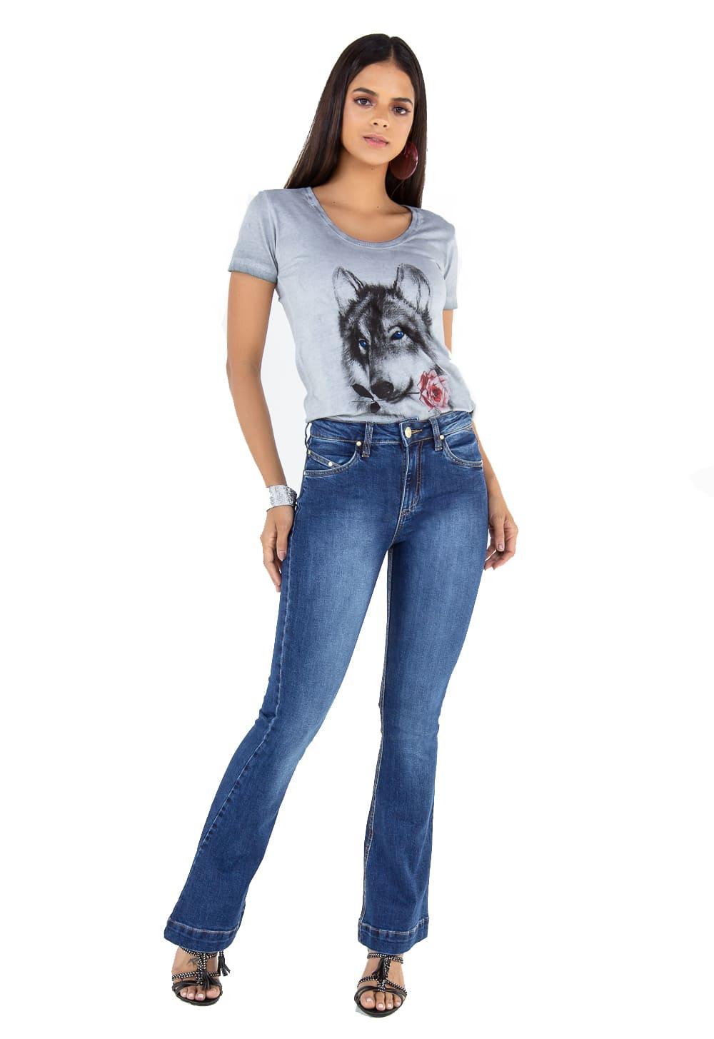 Calça Feminina Flare Jeans Tradicional Alta