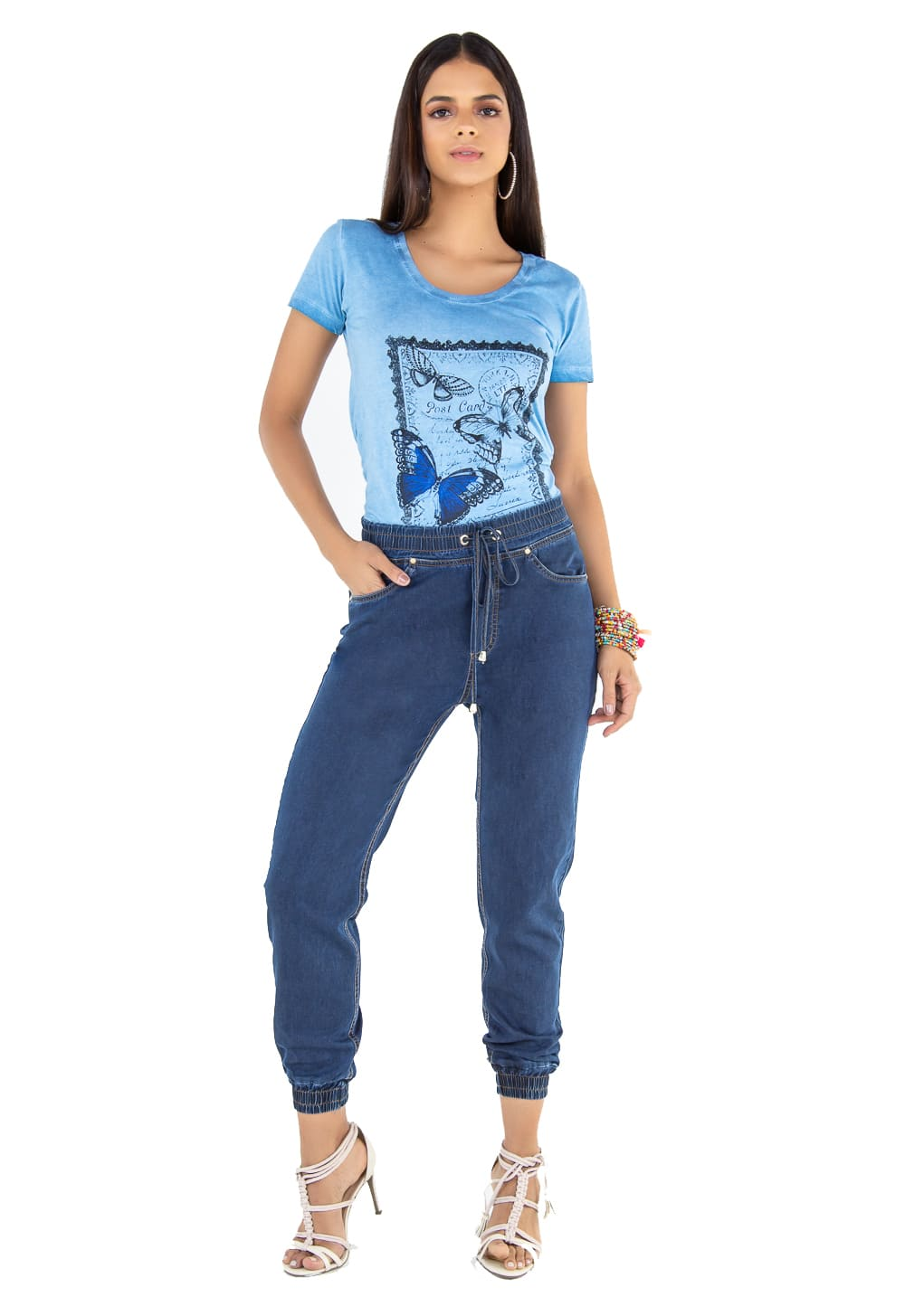 Calça Feminina Jeans Jogger