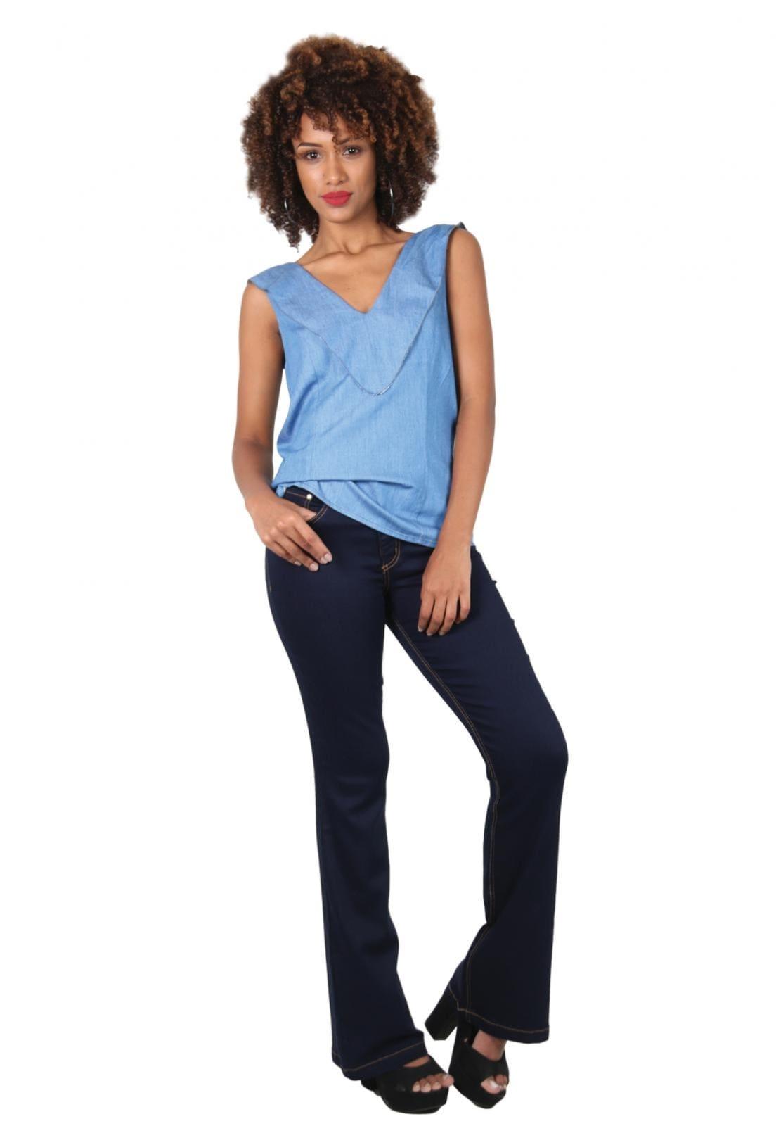 Calça Feminina Jeans Tradicional Flare Azul